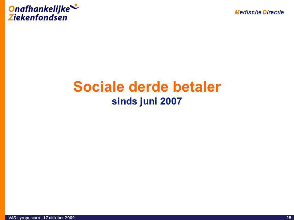Medische Directie 28VAS-symposium - 17 oktober 2009 Sociale derde betaler sinds juni 2007