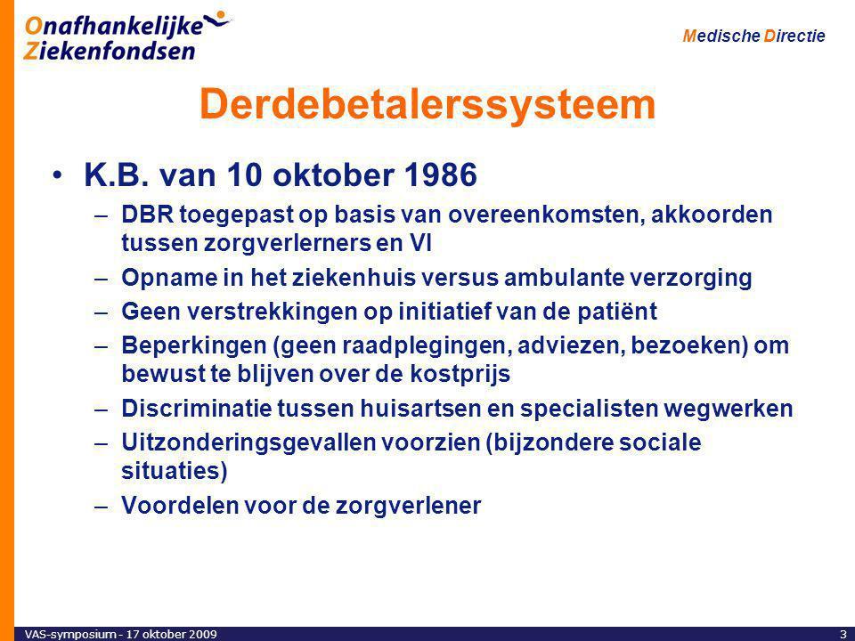VAS-symposium - 17 oktober 20093 Medische Directie Derdebetalerssysteem K.B.