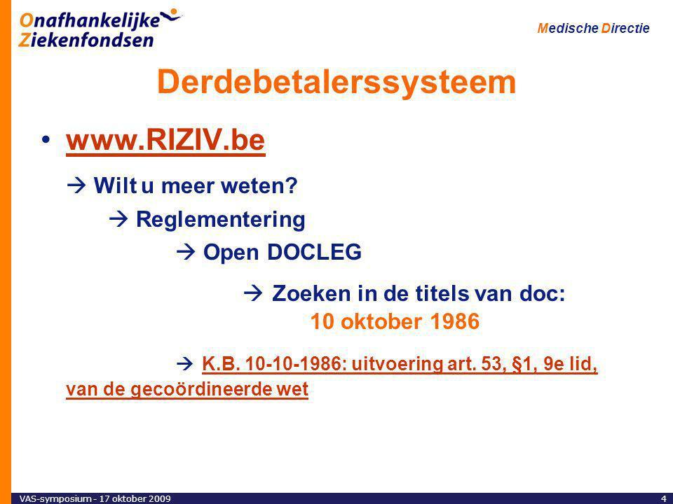 VAS-symposium - 17 oktober 200925 Medische Directie Derdebetaler : globaal overzicht Het KB van 10/10/86 bepaalt de gevallen waarin : –art.