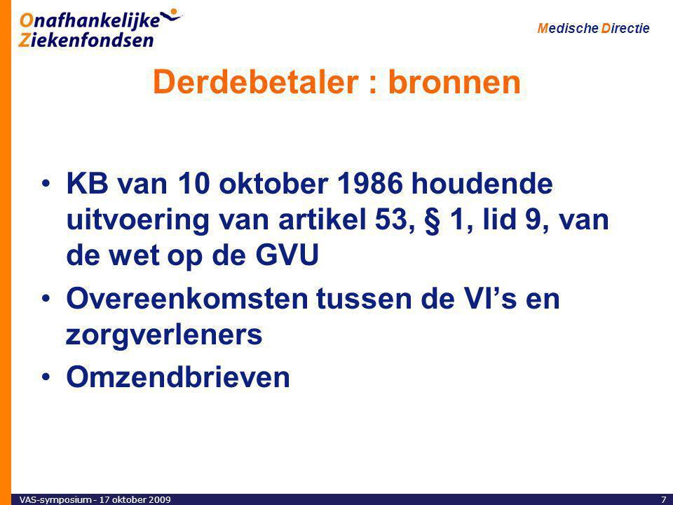 VAS-symposium - 17 oktober 20097 Medische Directie Derdebetaler : bronnen KB van 10 oktober 1986 houdende uitvoering van artikel 53, § 1, lid 9, van de wet op de GVU Overeenkomsten tussen de VI's en zorgverleners Omzendbrieven