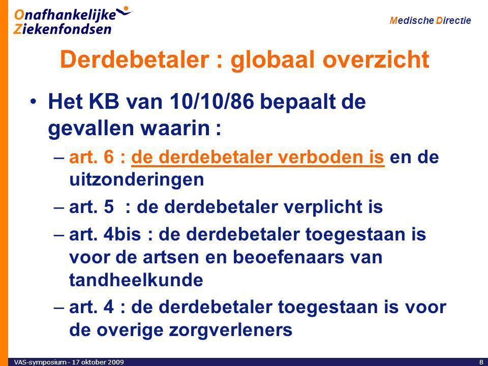 VAS-symposium - 17 oktober 20098 Medische Directie Derdebetaler : globaal overzicht Het KB van 10/10/86 bepaalt de gevallen waarin : –art.