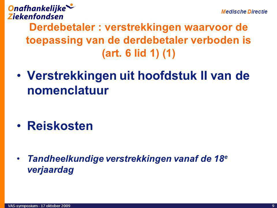 VAS-symposium - 17 oktober 200920 Medische Directie Derdebetaler : verstrekkingen waarvoor de toepassing van de derdebetaler verplicht is (art.5) Verstrekkingen, toegediend gedurende een ziekenhuisopname -Verpleegdag -Gelijkgestelde verstrekkingen : maxiforfait – forfait dagziekenhuis – dialyseforfait – nieuw forfait voor de behandeling van chronische pijn -Verstrekkingen, toegediend tijdens een ziekenhuisopname -Miniforfait en het aanbrengen van een gips : derdebetaler mogelijk Verstrekkingen voor ambulante klinische biologie Opsporing van borstkanker