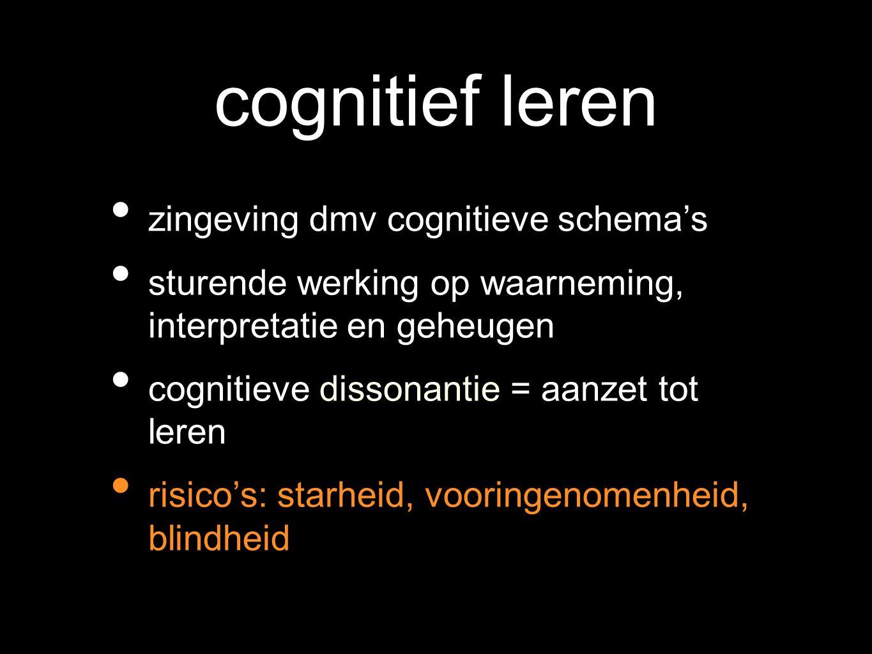 cognitief leren zingeving dmv cognitieve schema's sturende werking op waarneming, interpretatie en geheugen cognitieve dissonantie = aanzet tot leren risico's: starheid, vooringenomenheid, blindheid