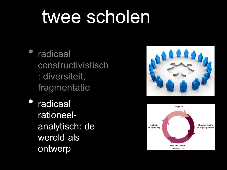 twee scholen radicaal constructivistisch : diversiteit, fragmentatie radicaal rationeel- analytisch: de wereld als ontwerp