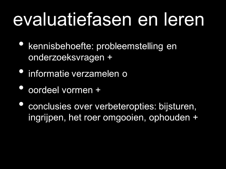 evaluatiefasen en leren kennisbehoefte: probleemstelling en onderzoeksvragen + informatie verzamelen o oordeel vormen + conclusies over verbeteropties: bijsturen, ingrijpen, het roer omgooien, ophouden +