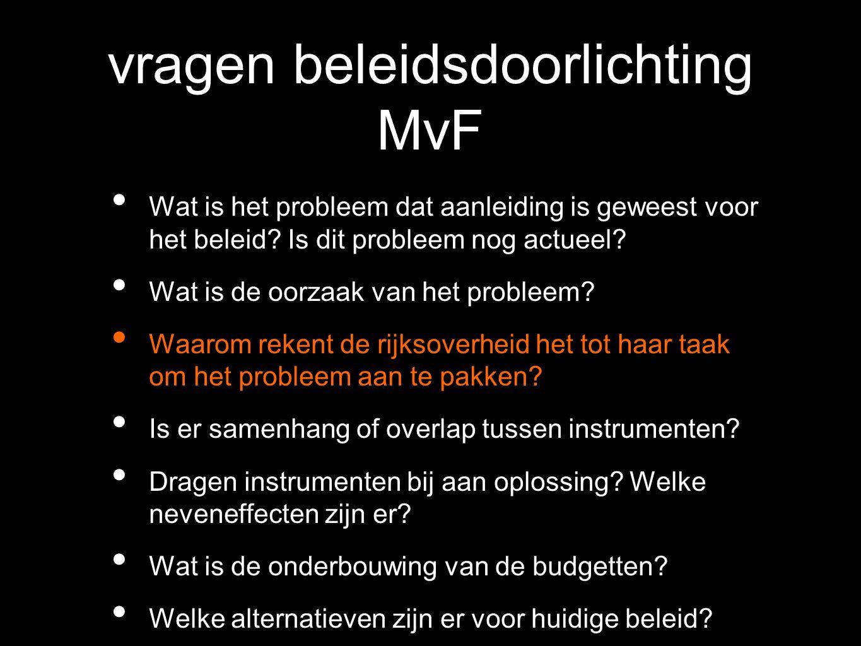 vragen beleidsdoorlichting MvF Wat is het probleem dat aanleiding is geweest voor het beleid? Is dit probleem nog actueel? Wat is de oorzaak van het p