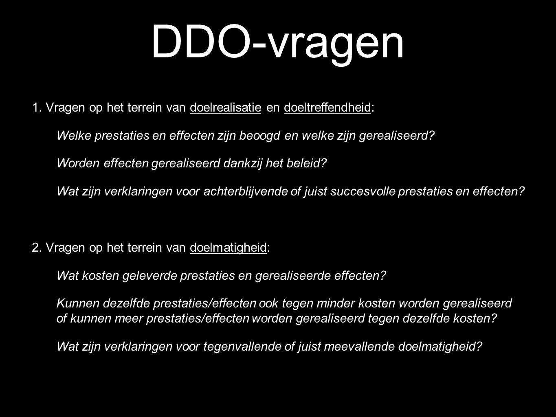DDO-vragen 1. Vragen op het terrein van doelrealisatie en doeltreffendheid: Welke prestaties en effecten zijn beoogd en welke zijn gerealiseerd? Worde