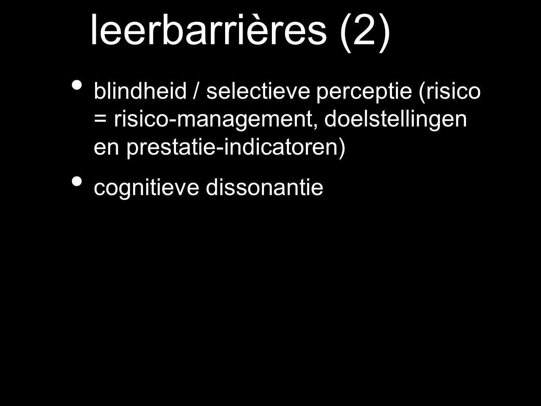 blindheid / selectieve perceptie (risico = risico-management, doelstellingen en prestatie-indicatoren) cognitieve dissonantie leerbarrières (2)