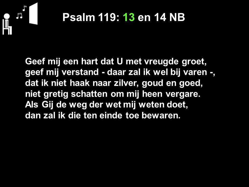 Psalm 119: 13 en 14 NB Geef mij een hart dat U met vreugde groet, geef mij verstand - daar zal ik wel bij varen -, dat ik niet haak naar zilver, goud