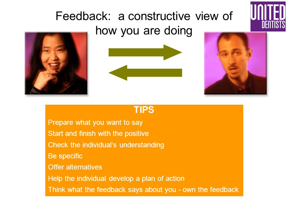 TIPS Prepare what you want to say Start and finish with the positive Check the individual's understanding Be specific Offer alternatives Help the indi