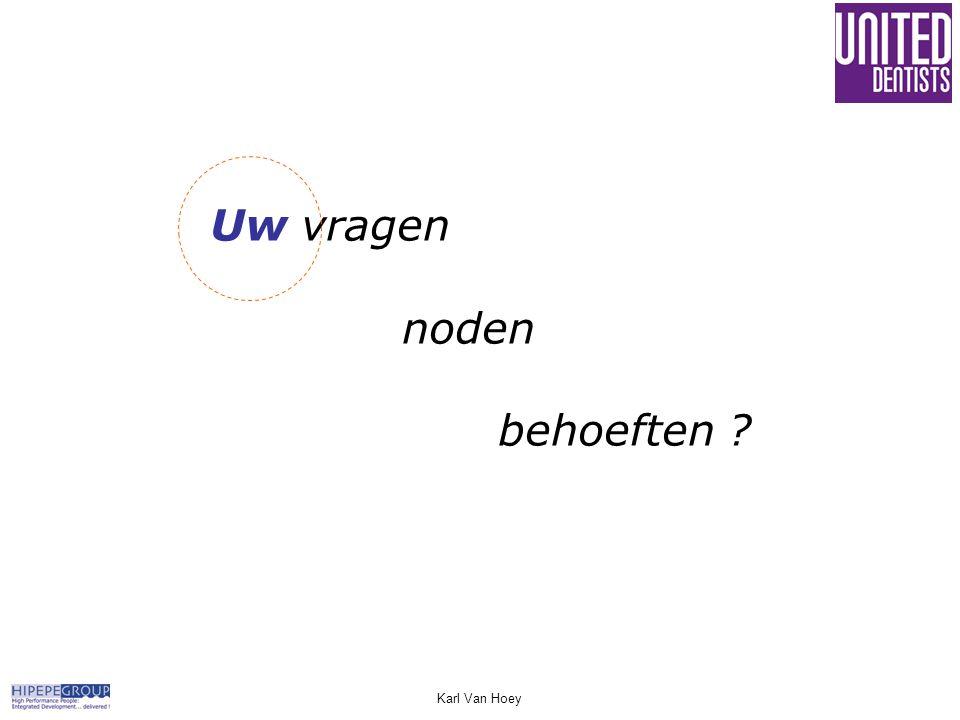 Uw vragen noden behoeften ? Karl Van Hoey