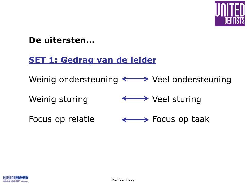 De uitersten… SET 1: Gedrag van de leider Weinig ondersteuningVeel ondersteuning Weinig sturingVeel sturing Focus op relatieFocus op taak Karl Van Hoe