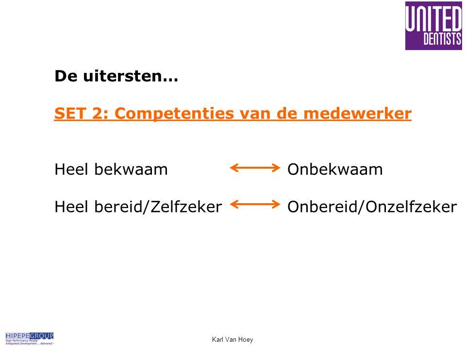De uitersten… SET 2: Competenties van de medewerker Heel bekwaamOnbekwaam Heel bereid/ZelfzekerOnbereid/Onzelfzeker Karl Van Hoey