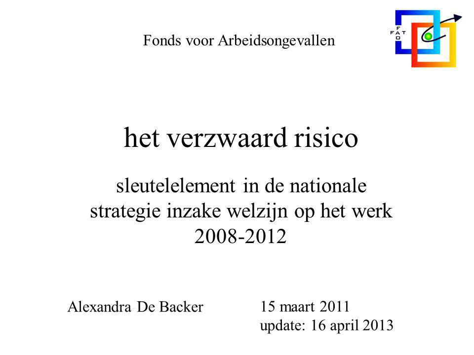 het verzwaard risico sleutelelement in de nationale strategie inzake welzijn op het werk 2008-2012 Fonds voor Arbeidsongevallen Alexandra De Backer 15