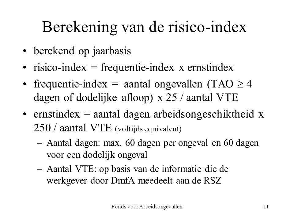 Fonds voor Arbeidsongevallen11 Berekening van de risico-index berekend op jaarbasis risico-index = frequentie-index x ernstindex frequentie-index = aa