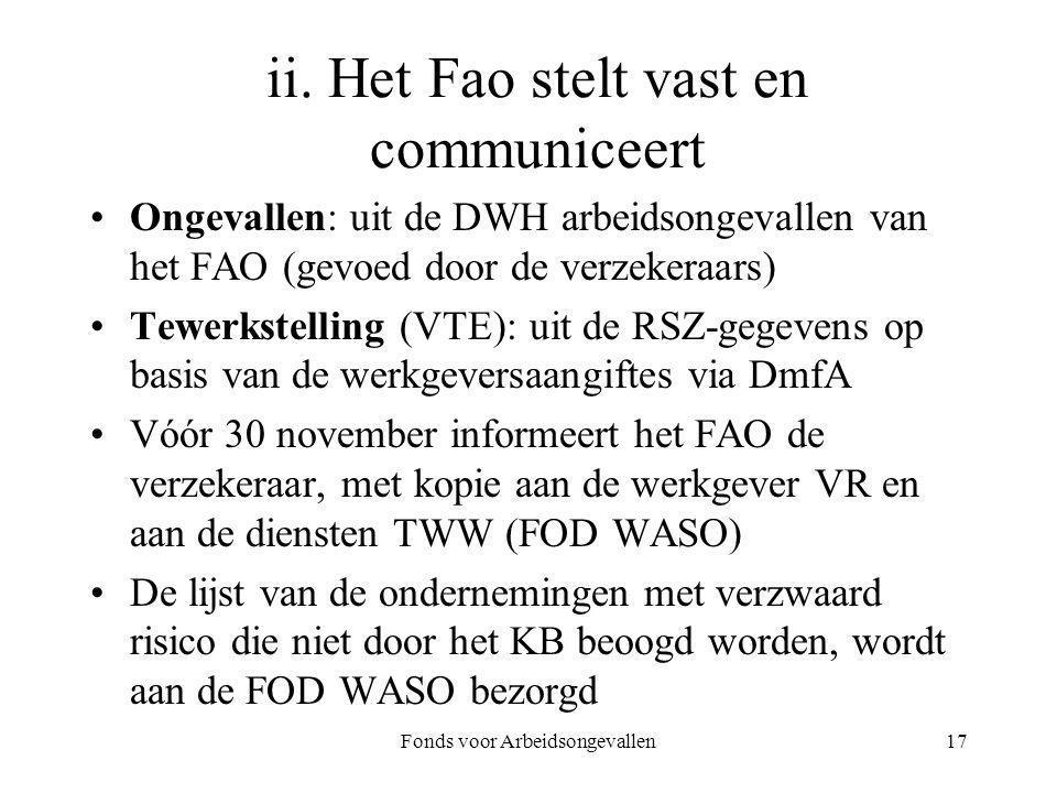 Fonds voor Arbeidsongevallen17 ii. Het Fao stelt vast en communiceert Ongevallen: uit de DWH arbeidsongevallen van het FAO (gevoed door de verzekeraar