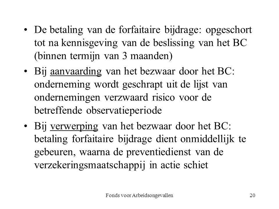 De betaling van de forfaitaire bijdrage: opgeschort tot na kennisgeving van de beslissing van het BC (binnen termijn van 3 maanden) Bij aanvaarding va