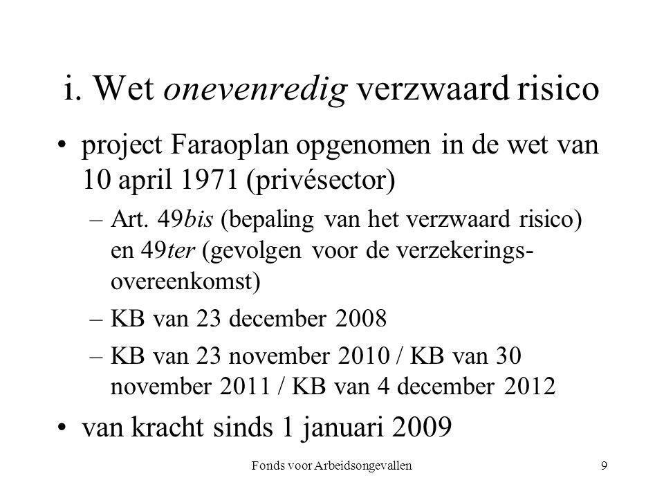Fonds voor Arbeidsongevallen9 i. Wet onevenredig verzwaard risico project Faraoplan opgenomen in de wet van 10 april 1971 (privésector) –Art. 49bis (b