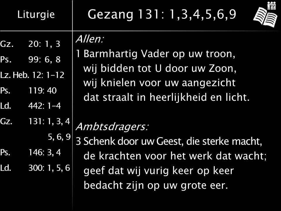 Liturgie Gz.20: 1, 3 Ps.99: 6, 8 Lz. Heb. 12: 1-12 Ps.119: 40 Ld.442: 1-4 Gz.131: 1, 3, 4 5, 6, 9 Ps.146: 3, 4 Ld.300: 1, 5, 6 Gezang 131: 1,3,4,5,6,9