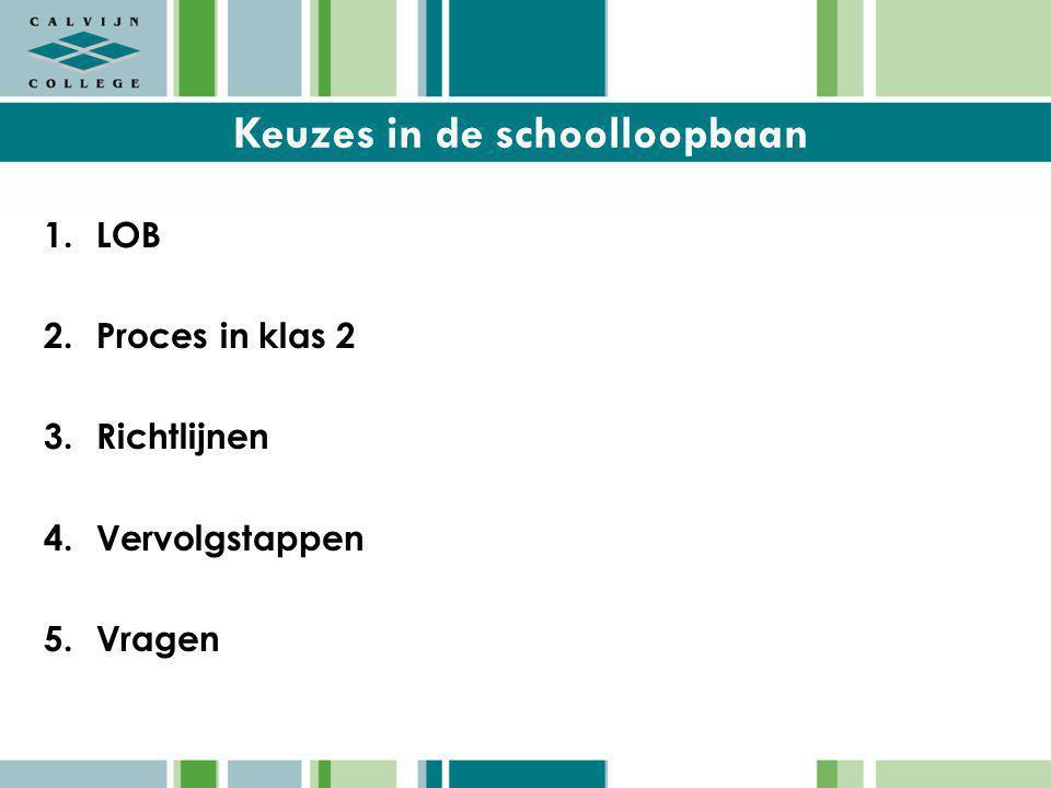Keuzes in de schoolloopbaan 1.LOB 2.Proces in klas 2 3.Richtlijnen 4.Vervolgstappen 5.Vragen
