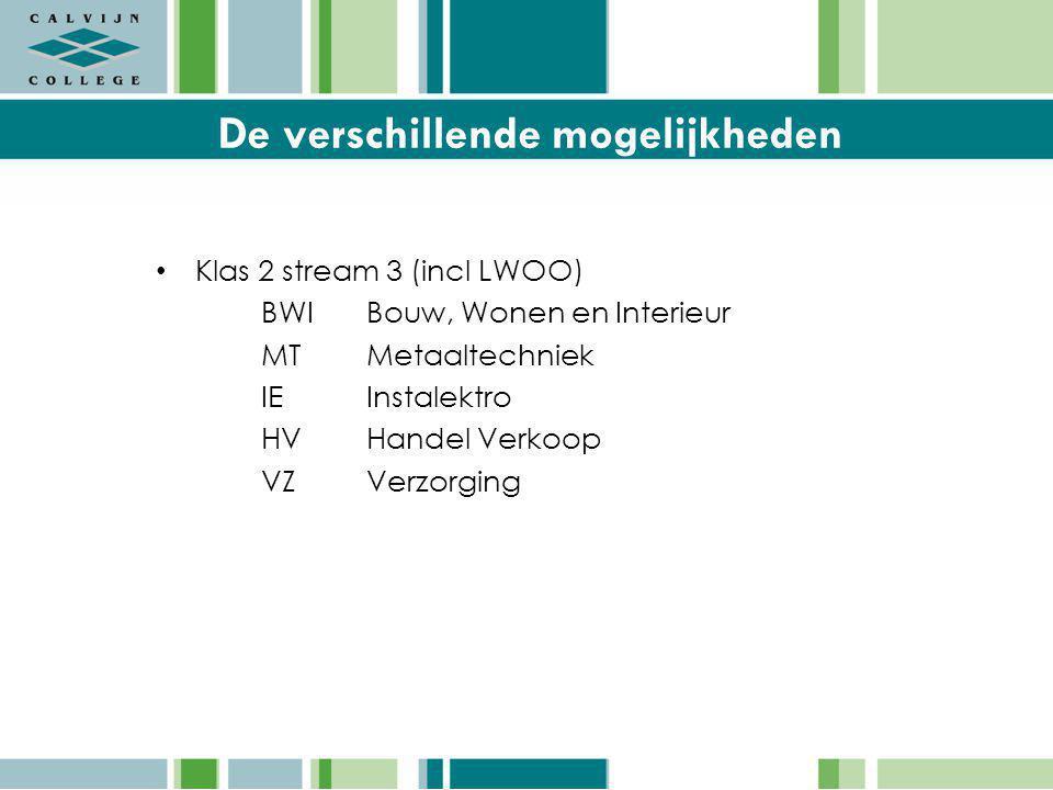 De verschillende mogelijkheden Klas 2 stream 3 (incl LWOO) BWIBouw, Wonen en Interieur MTMetaaltechniek IEInstalektro HVHandel Verkoop VZVerzorging