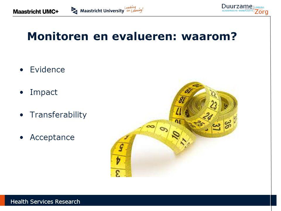 Monitoren en evalueren: waarom? Evidence Impact Transferability Acceptance Health Services Research