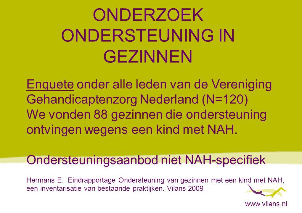www.vilans.nl ONDERZOEK ONDERSTEUNING IN GEZINNEN Enquete onder alle leden van de Vereniging Gehandicaptenzorg Nederland (N=120) We vonden 88 gezinnen die ondersteuning ontvingen wegens een kind met NAH.