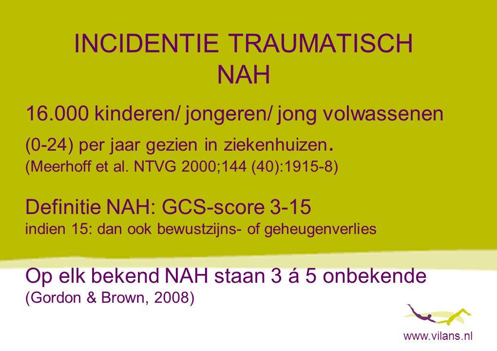 www.vilans.nl INCIDENTIE TRAUMATISCH NAH 16.000 kinderen/ jongeren/ jong volwassenen (0-24) per jaar gezien in ziekenhuizen. (Meerhoff et al. NTVG 200