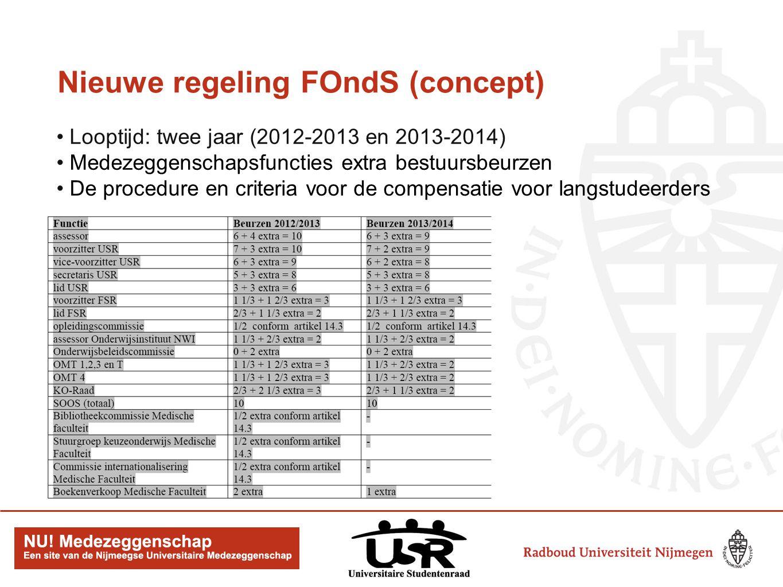 Nieuwe regeling FOndS (concept) Looptijd: twee jaar (2012-2013 en 2013-2014) Medezeggenschapsfuncties extra bestuursbeurzen De procedure en criteria voor de compensatie voor langstudeerders