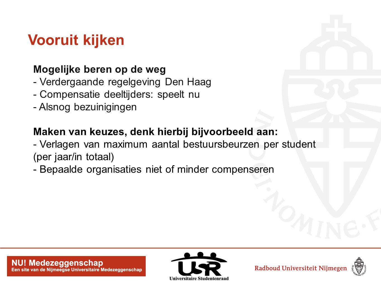 Vooruit kijken Mogelijke beren op de weg - Verdergaande regelgeving Den Haag - Compensatie deeltijders: speelt nu - Alsnog bezuinigingen Maken van keuzes, denk hierbij bijvoorbeeld aan: - Verlagen van maximum aantal bestuursbeurzen per student (per jaar/in totaal) - Bepaalde organisaties niet of minder compenseren