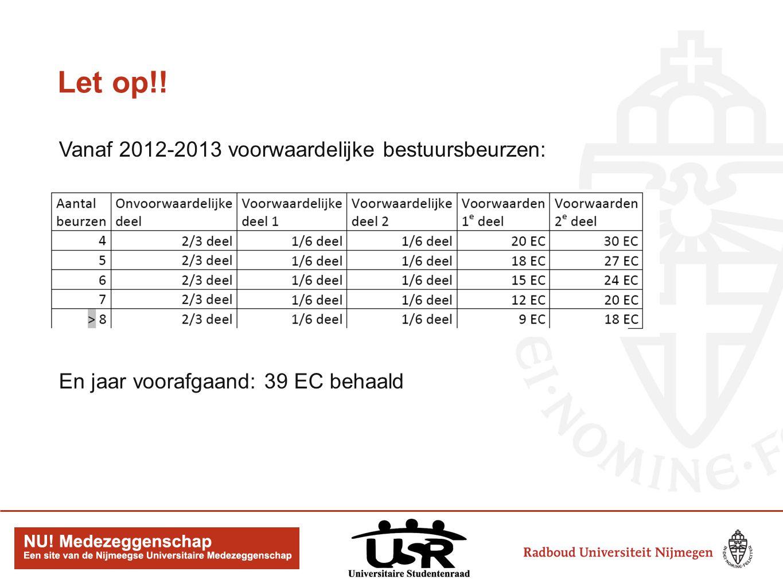 Let op!! Vanaf 2012-2013 voorwaardelijke bestuursbeurzen: En jaar voorafgaand: 39 EC behaald