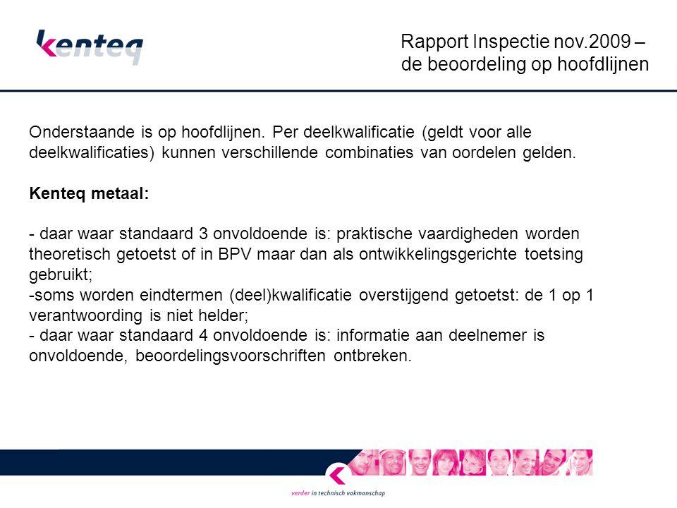 Rapport Inspectie nov.2009 – de beoordeling op hoofdlijnen Consortium itembank E / ICT - daar waar standaard 3 onvoldoende is: praktische vaardigheden worden theoretisch getoetst, als er in praktijk getoetst wordt is niet te achterhalen waar deze praktijktoetsing precies plaats vindt, de inhoud van de eindtermen is onvoldoende verwerkt in de toetsing; - de theorietoetsing voldoet aan standaard 4.