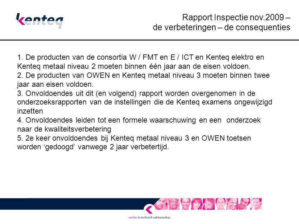 Rapport Inspectie nov.2009 – de verbeteringen – de consequenties 1.