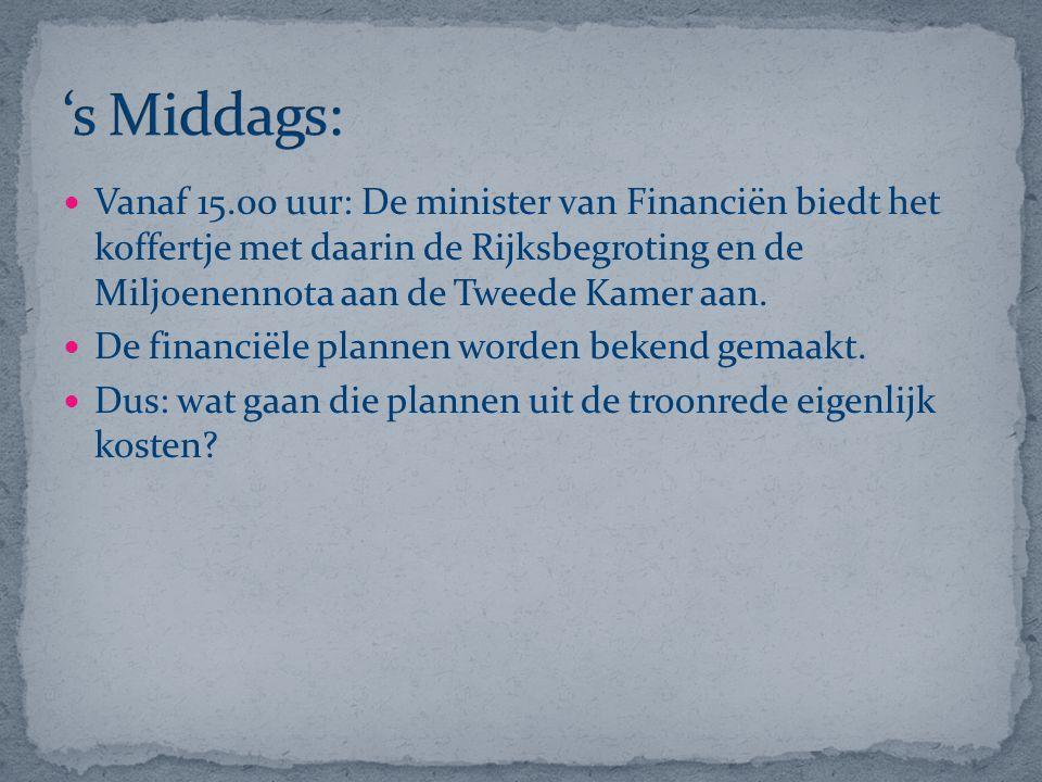 Vanaf 15.00 uur: De minister van Financiën biedt het koffertje met daarin de Rijksbegroting en de Miljoenennota aan de Tweede Kamer aan. De financiële