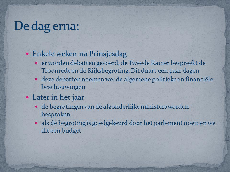 Enkele weken na Prinsjesdag er worden debatten gevoerd, de Tweede Kamer bespreekt de Troonrede en de Rijksbegroting. Dit duurt een paar dagen deze deb
