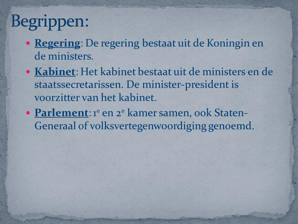 Regering: De regering bestaat uit de Koningin en de ministers. Kabinet: Het kabinet bestaat uit de ministers en de staatssecretarissen. De minister-pr