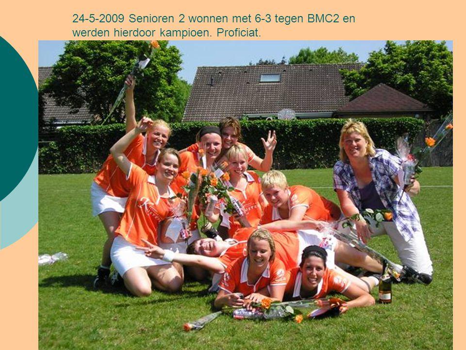 24-5-2009 Senioren 2 wonnen met 6-3 tegen BMC2 en werden hierdoor kampioen. Proficiat.