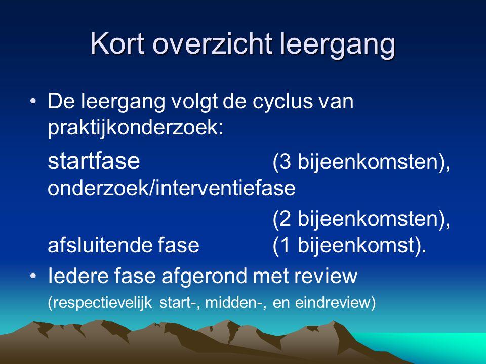 Kort overzicht leergang De leergang volgt de cyclus van praktijkonderzoek: startfase (3 bijeenkomsten), onderzoek/interventiefase (2 bijeenkomsten), afsluitende fase (1 bijeenkomst).