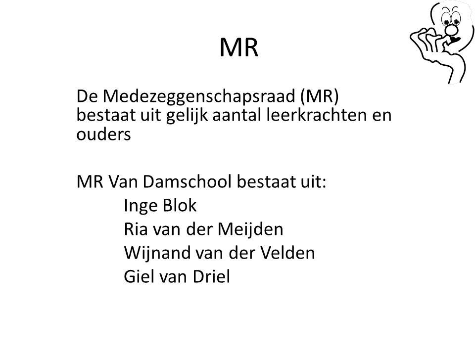 MR De Medezeggenschapsraad (MR) bestaat uit gelijk aantal leerkrachten en ouders MR Van Damschool bestaat uit: Inge Blok Ria van der Meijden Wijnand v