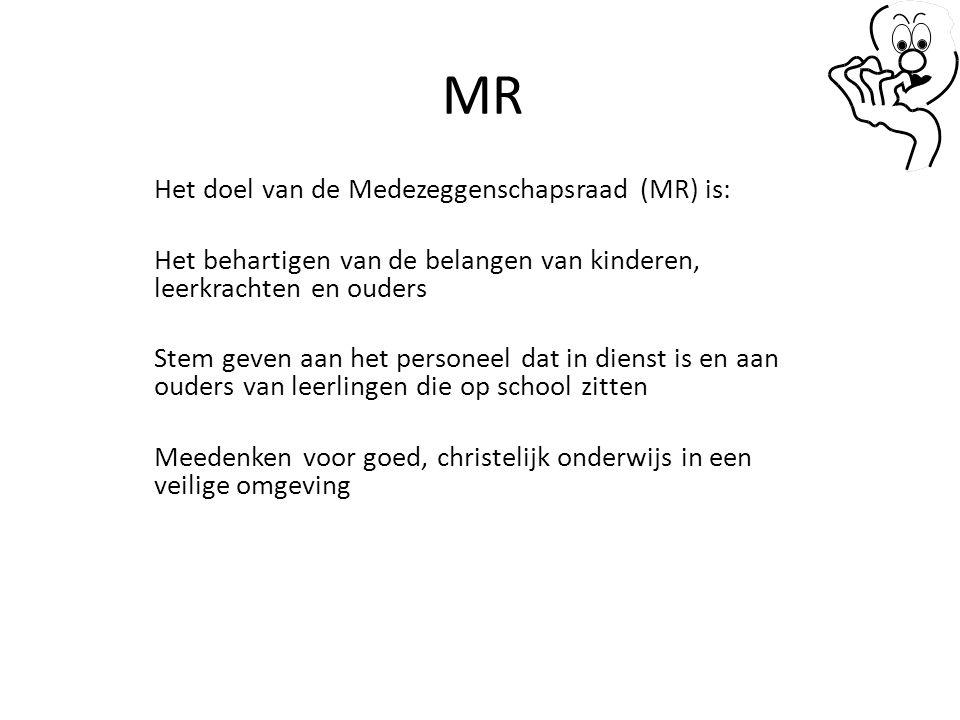 MR Het doel van de Medezeggenschapsraad (MR) is: Het behartigen van de belangen van kinderen, leerkrachten en ouders Stem geven aan het personeel dat