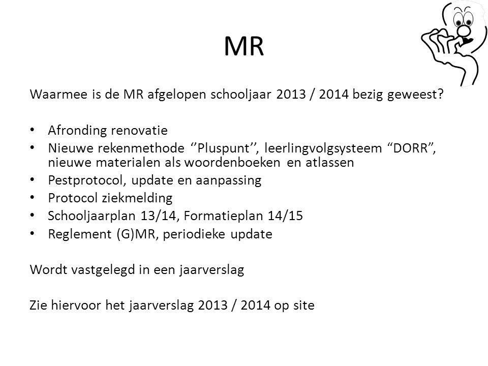 """MR Waarmee is de MR afgelopen schooljaar 2013 / 2014 bezig geweest? Afronding renovatie Nieuwe rekenmethode ''Pluspunt'', leerlingvolgsysteem """"DORR"""","""