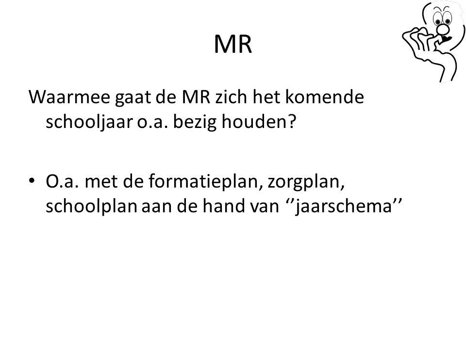 MR Waarmee gaat de MR zich het komende schooljaar o.a. bezig houden? O.a. met de formatieplan, zorgplan, schoolplan aan de hand van ''jaarschema''