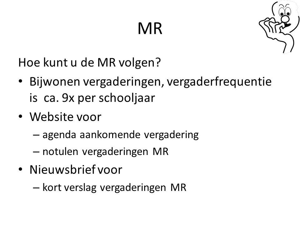 MR Hoe kunt u de MR volgen? Bijwonen vergaderingen, vergaderfrequentie is ca. 9x per schooljaar Website voor – agenda aankomende vergadering – notulen