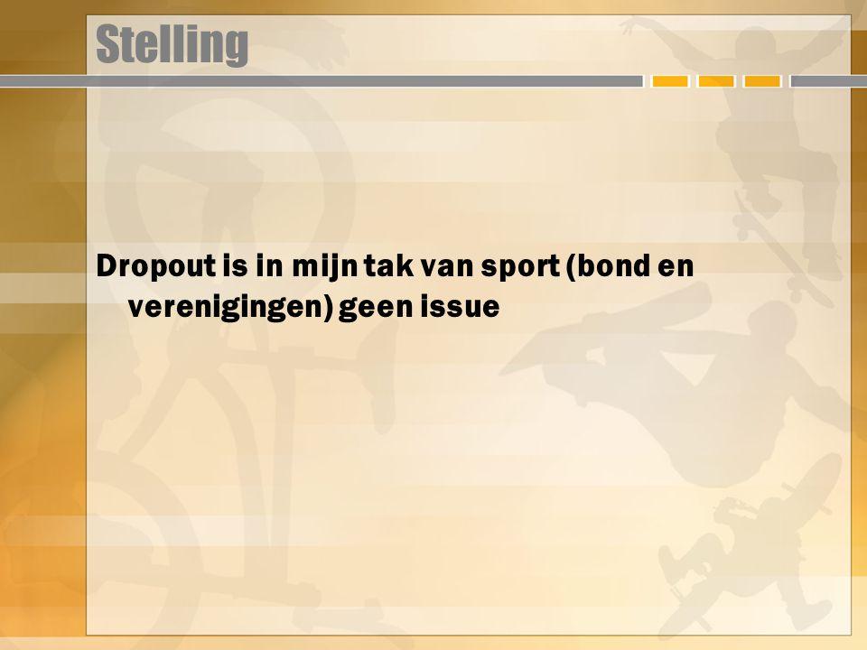 Stelling Dropout is in mijn tak van sport (bond en verenigingen) geen issue