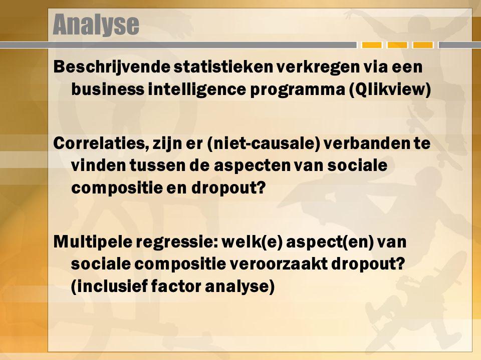 Analyse Beschrijvende statistieken verkregen via een business intelligence programma (Qlikview) Correlaties, zijn er (niet-causale) verbanden te vinden tussen de aspecten van sociale compositie en dropout.