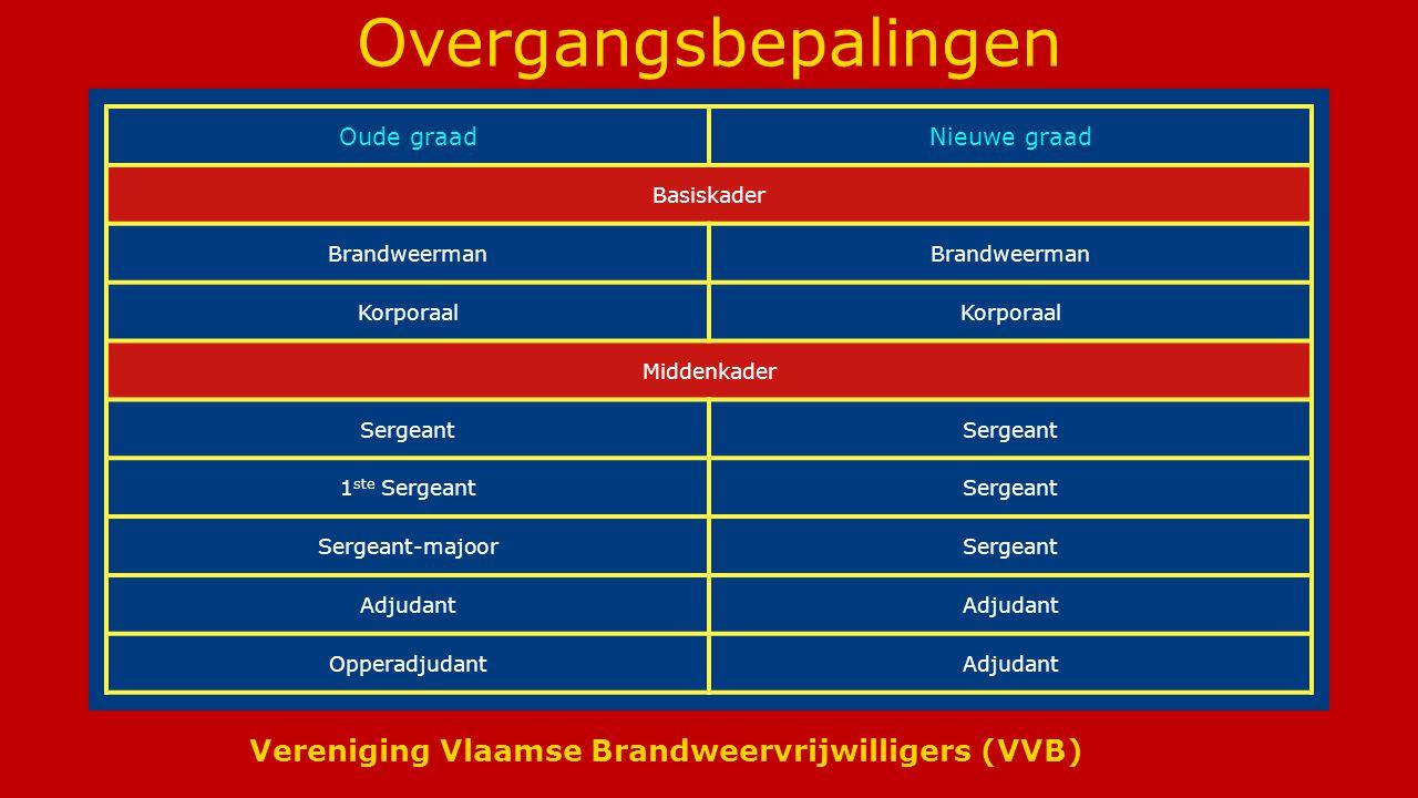 Vereniging Vlaamse Brandweervrijwilligers (VVB) Overgangsbepalingen Oude graadNieuwe graad Basiskader Brandweerman Korporaal Middenkader Sergeant 1 ste SergeantSergeant Sergeant-majoorSergeant Adjudant OpperadjudantAdjudant