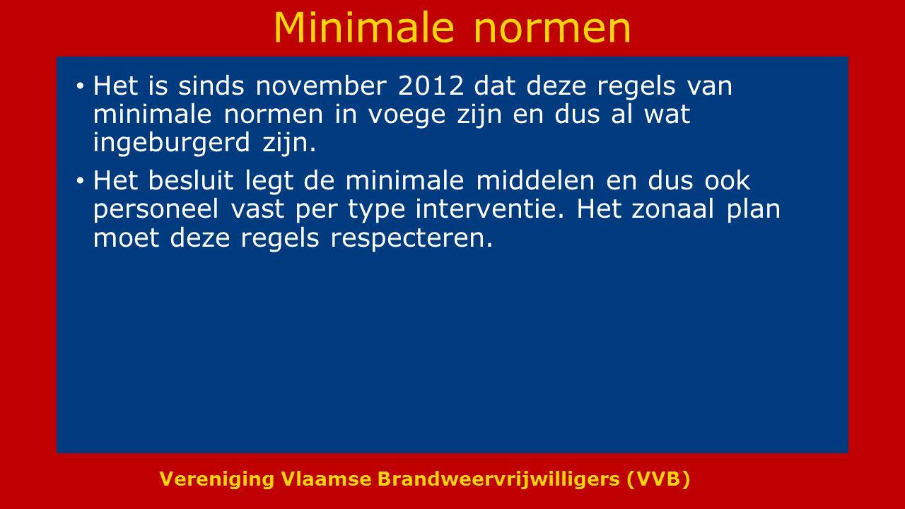 Vereniging Vlaamse Brandweervrijwilligers (VVB) Minimale normen Het is sinds november 2012 dat deze regels van minimale normen in voege zijn en dus al wat ingeburgerd zijn.