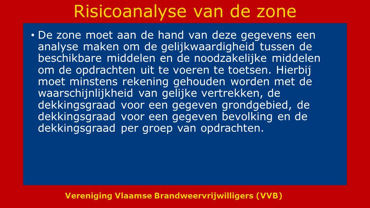Vereniging Vlaamse Brandweervrijwilligers (VVB) Risicoanalyse van de zone De zone moet aan de hand van deze gegevens een analyse maken om de gelijkwaardigheid tussen de beschikbare middelen en de noodzakelijke middelen om de opdrachten uit te voeren te toetsen.