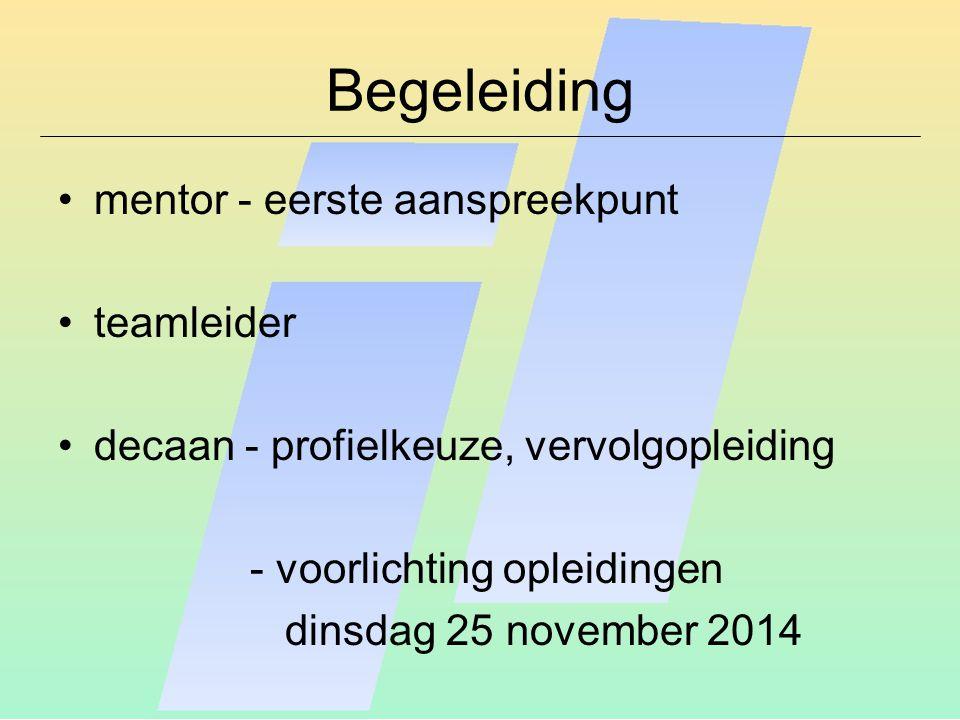Begeleiding mentor - eerste aanspreekpunt teamleider decaan - profielkeuze, vervolgopleiding - voorlichting opleidingen dinsdag 25 november 2014