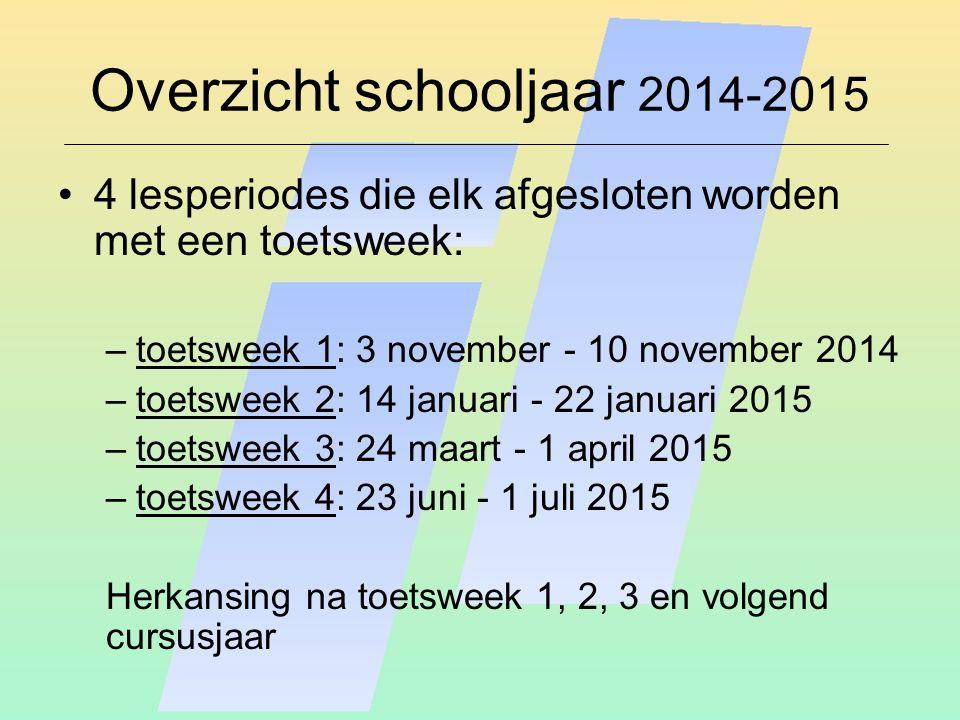 Overzicht schooljaar 2014-2015 4 lesperiodes die elk afgesloten worden met een toetsweek: –toetsweek 1: 3 november - 10 november 2014 –toetsweek 2: 14 januari - 22 januari 2015 –toetsweek 3: 24 maart - 1 april 2015 –toetsweek 4: 23 juni - 1 juli 2015 Herkansing na toetsweek 1, 2, 3 en volgend cursusjaar